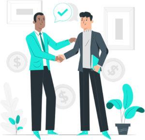 Commercial qui a une bonne relation avec son prospect, ou l'acheteur