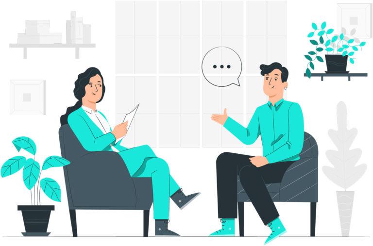 Rendez-vous avec un commercial qui écoute le prospect ou l'acheteur