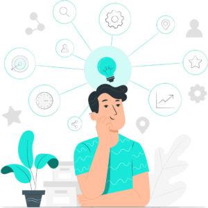 Commercial qui réfléchit à comment avoir de meilleures conversation avec son prospect ou son client, et comment améliorer son processus de vente